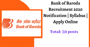Bank of Baroda Recruitment 2020 Notification _ Syllabus _ Apply Online