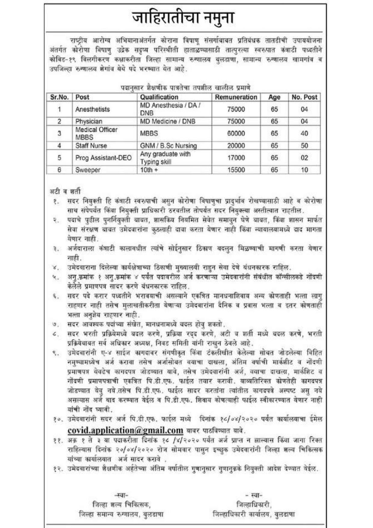 NHM Buldhana Recruitment 2020